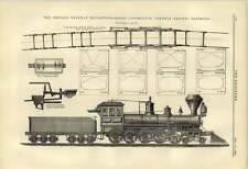 1884 Goods Locomotive Central Pacific Railroad Plan Showing Wheels
