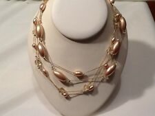 Premier Designs CAROLYN Multi :- Strand Gold Tone Bead Necklace -: