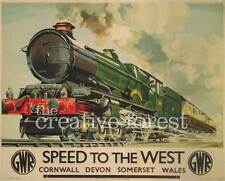 SPEED TO THE WEST, 1939 Vintage Train Reproduction Rolled CANVAS PRINT 29x24 in.