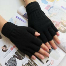 Black Warmer Fingerless Mittens Stretch Knitted Gloves For Unisex Women Men