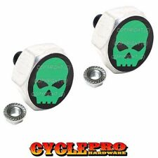 2 Silver Hex Billet License Plate Frame Tag Bolts for Harley - GREEN SKULL S1