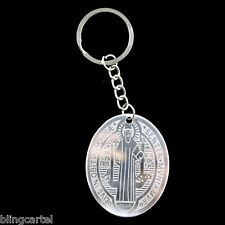 San Benito 316L Stainless Steel Oval Medallion Saint St Benedict Medal Keychain