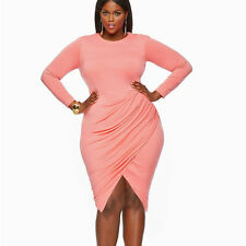 Women's Plus Size Bodycon Dress Sexy Split Evening Party Cocktail Night Club