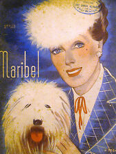 Franco Maribel Spanish Deco Cover 1930 GIRL WHITE FURRY HAT w SHEEP DOG Matted