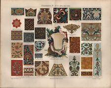 Chromo-Lithografie 1909: Ornamente IV (17./18. Jahrh. und Asien).