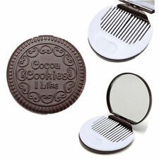 Women Mini Cute Pocket Magic Chocolate Cookie Compact Makeup Mirror Comb Gift