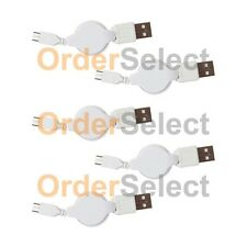 5 USB White Retract Battery Charger Cable for Android Samsung Galaxy Note 1 2 3