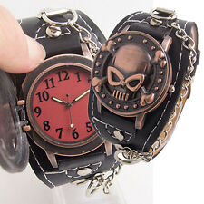 Steampunk Skull Cover Wristbands Gothic Punk Biker Quartz Wrist Watch Remarkable