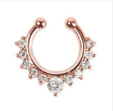Charms Fake Septum Clicker Crystal Rose Nose Ring Non Piercing Clip On Jewelry