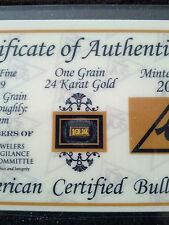 1 GRAIN 24K SOLID GOLD BULLION ACB MINTED BAR 99.99 FINE W/ CERT 0F AUTHENTICITY
