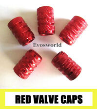 RED CHROME ALUMINIUM VALVE CAR TYRE DUST WHEEL CAPS VOLKSWAGEN GOLF GTI TDI GT