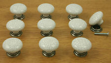 10 x White Crackle with Pewter Base Kitchen Cupboard Door Knobs 35mm diameter