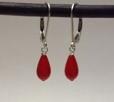 Sterling Silver Petite Teardrop Red Coral Dangle Earrings