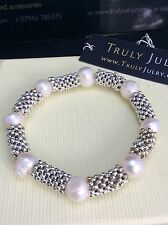 Luxurious Designer Contemporary Pearl And Silver Beaded Bracelet - Gift Packaged