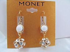 NWT MONET GOLD & WHITE ENAMEL & CRYSTAL BALL DANGLE EARRINGS, Stunning Sparkle