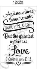 Inspirational STENCIL* Faith Hope Love*12x20 for Signs Wood Fabric Canvas Craft