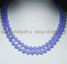 "Purple 8mm Violet Alexandrite Round Beads Gemstones Necklaces 36"" AA"