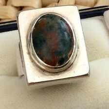 Stunning Ladies Substantial Vintage Solid Silver & Agate Ring Very Stylish