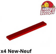 Lego - 4x Tile plaque lisse 1x8 with Groove rouge/red 4162 NEUF