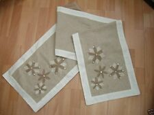 Linen Table Bed Runner Cream Beige Embroidered Flowers Mother Of Pearl Sequins