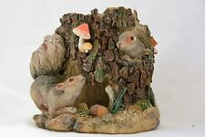 Squirrels in Tree Stump Candleholder