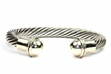 925 STERLING, VINTAGE MEXICO TAXCO TWISTED ROPE BALL ENDS CUFF BRACELET, BR 27