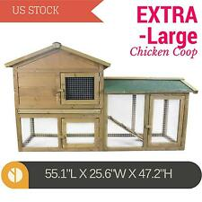 Deluxe Rabbit Hutch Chicken Coop Poultry Cage Small Animal House w/ run X-Large