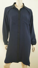 JAEGER LONDON Navy Blue & Black Collared Long Sleeve Coat Shirt Dress UK10