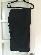 ALL SAINTS BLACK HITCHED STRUCTURED SLOANE SKIRT  PENCIL WIGGLE SKIRT– UK SIZE 8