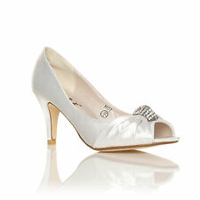 NEW LADIES BRIDAL SHOES SATIN BRIDESMAID MID HEEL OCCASION PROM PARTY WEDDING