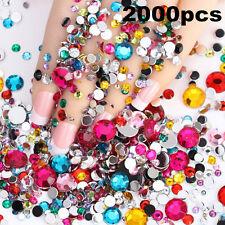 2000pcs 3D Acrylic Crystal Rhinestones Gems Nail Art Tip DIY Glitter Decoration