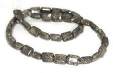 10X8MM IRON PYRITE INTRUSION GEMSTONE BLACK GOLD RECTANGLE LOOSE BEADS 15.5""