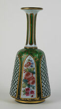 Bohemian Moser green glass white overlay gilded vase c1880