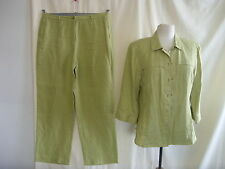 Ladies Jacket (UK 12) & Trousers (UK 16) Pret a Porter, green linen, summer 1737