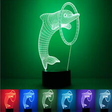 3D Dolphin illusion LED night 7 Color change touch table desk Lamp Light