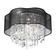 New 3 Lamp Illusion Crystal Black laminated Organza Shade Ceiling Light Dia 15""