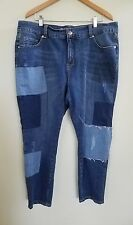 Melissa McCarthy Seven7 Girlfriend Patch Detail Denim Blue Jeans Women's Size 16