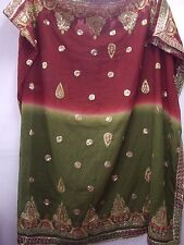 Vintage Red & Green Dupatta Indian Scarf Embroidered Sarong Veil Stole Hijab