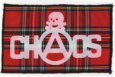 CHAOS RED TARTAN PATCH SEDITIONARIES SKULL ORIGINAL PUNK ROCK 1977 ANARCHY