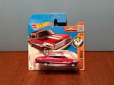 Hot Wheels '63 Chevy II #128 Muscle Mania 2016 Dark Red 1963 Int. Short Card