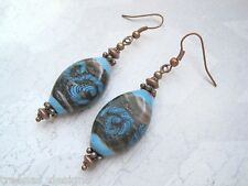 *CHUNKY OVAL BROWN BLUE SWIRL LAMPWORK GLASS BEAD* Copper Drop Earrings Gift Bag