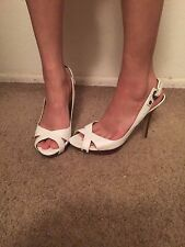 women's Guess White Leather Ankle Strap Stiletto Pump Size 8.5M