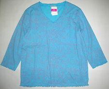 FRESH PRODUCE Small Delray Ocean Blue HARVEST Embrace Me V Neck Top NWT S