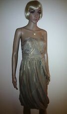 MONSOON Gold Silk Evening Dress. Cocktail Party, Wedding, Prom / Ball.   SIZE 12