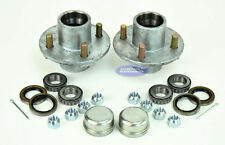 "(2)- Boat or Utility Trailer Hot Dipped Galvanized 4 Bolt Hub With 1""x 1"" Kit"