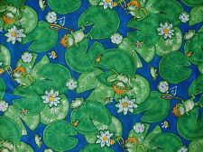 """Lily Pads & Frogs Novelty Cotton Fabric 45"""" x 3 yards"""