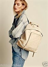 NEW Free People ivory tan crinkled leather Journey Large Backpack $198