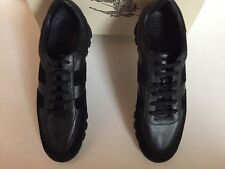 New In Box Burberry Men Leather Black Sneakers Size UK 10.5, Euro 44.5, US 11.5