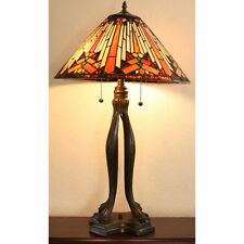 """Tiffany Style Stained Glass Golden Mesa Table Lamp 18"""" Shade 2 Light  NEW"""