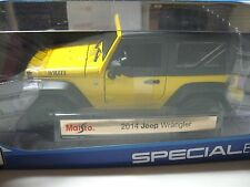 1:18 SCALE MAISTO 2014  JEEP WRANGLER DIECAST MODEL CAR YELLOW